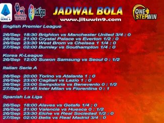 Jadwal Taruhan Bola 26-27 September 2020