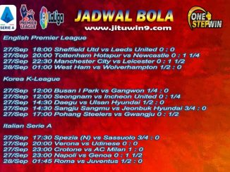 Jadwal Taruhan Bola 27-28 September 2020