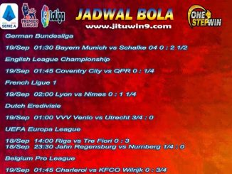 Jadwal Taruhan Bola 18-19 September 2020