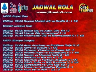 Jadwal Taruhan Bola 23-24 September 2020