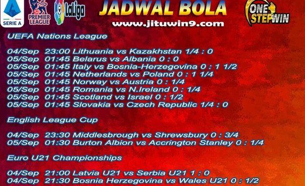 Jadwal Taruhan Bola 04-05 September 2020